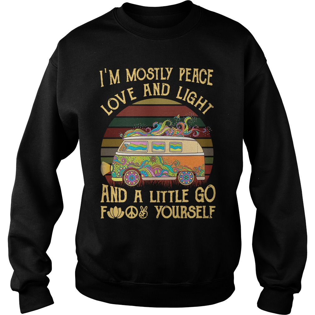 Car I'M Mostly Peace Love And Light Sunset Retro Sweater