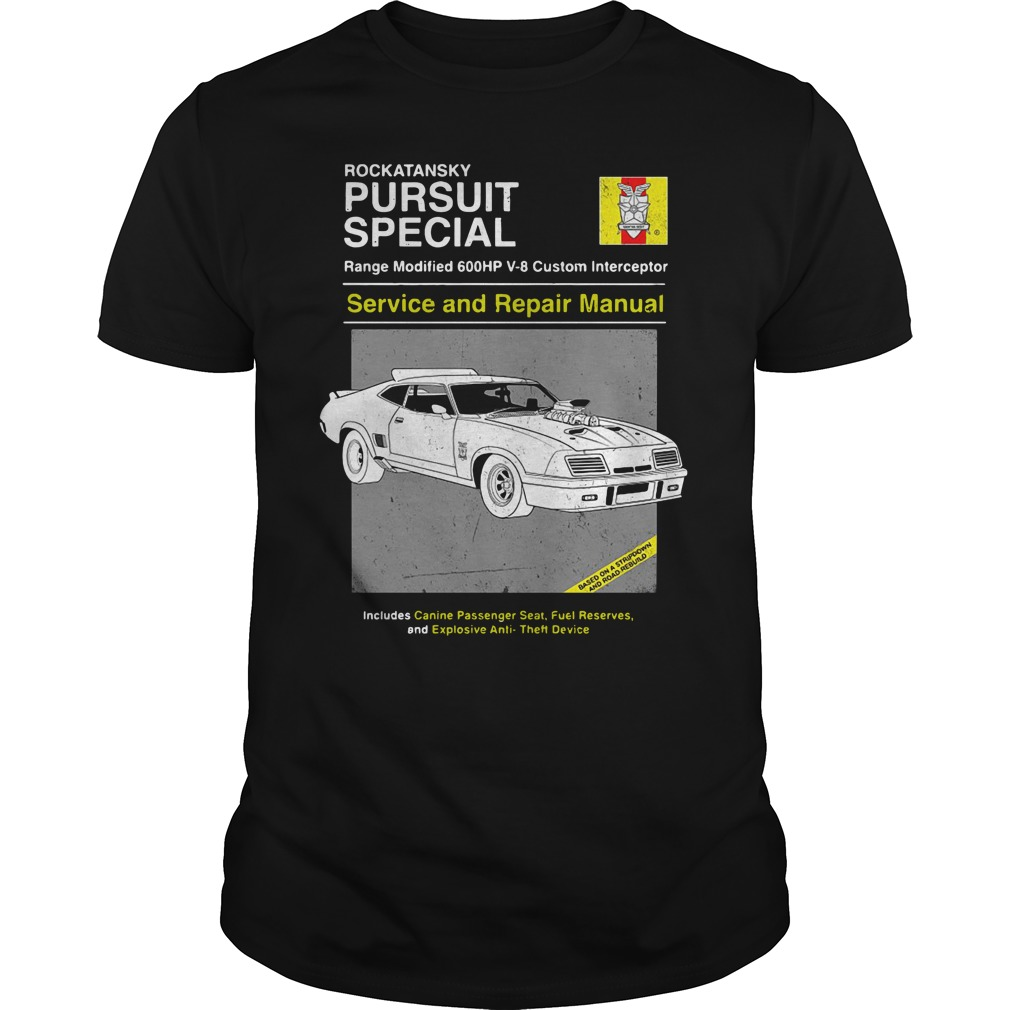 Car Rockatansky Pursuit Special Service And Repair Manual Guy Tees