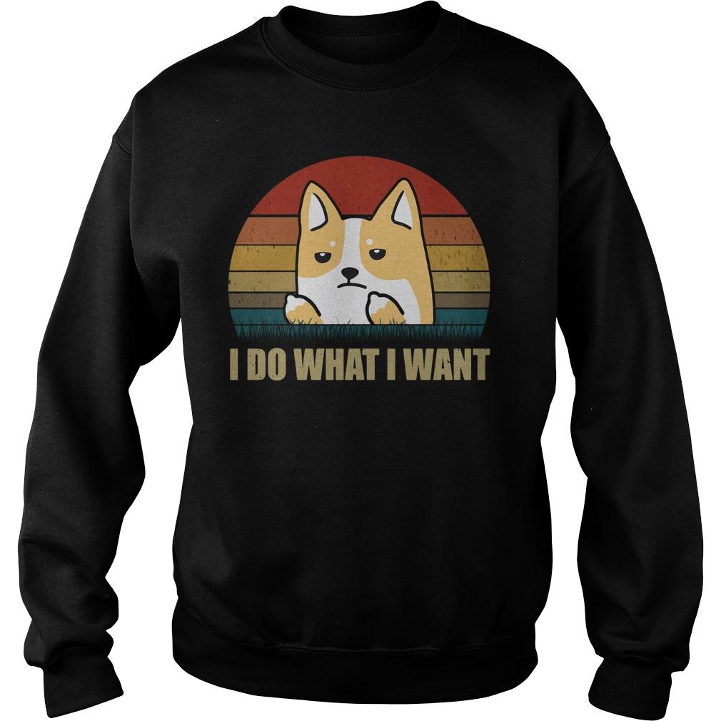 Corgi I Do What I Want Sunset Retro Sweater