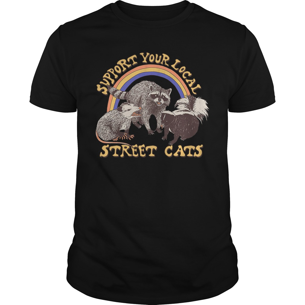 Foumart Raccoon And Brock Support Your Local Street Cats Guy Tees