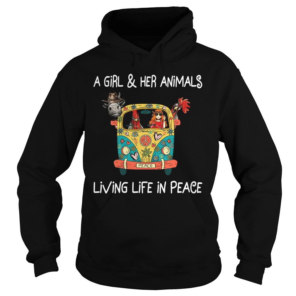 Girl In The Car With Chickens And Cow Girl And Her Animals Living In Peace Hoodie