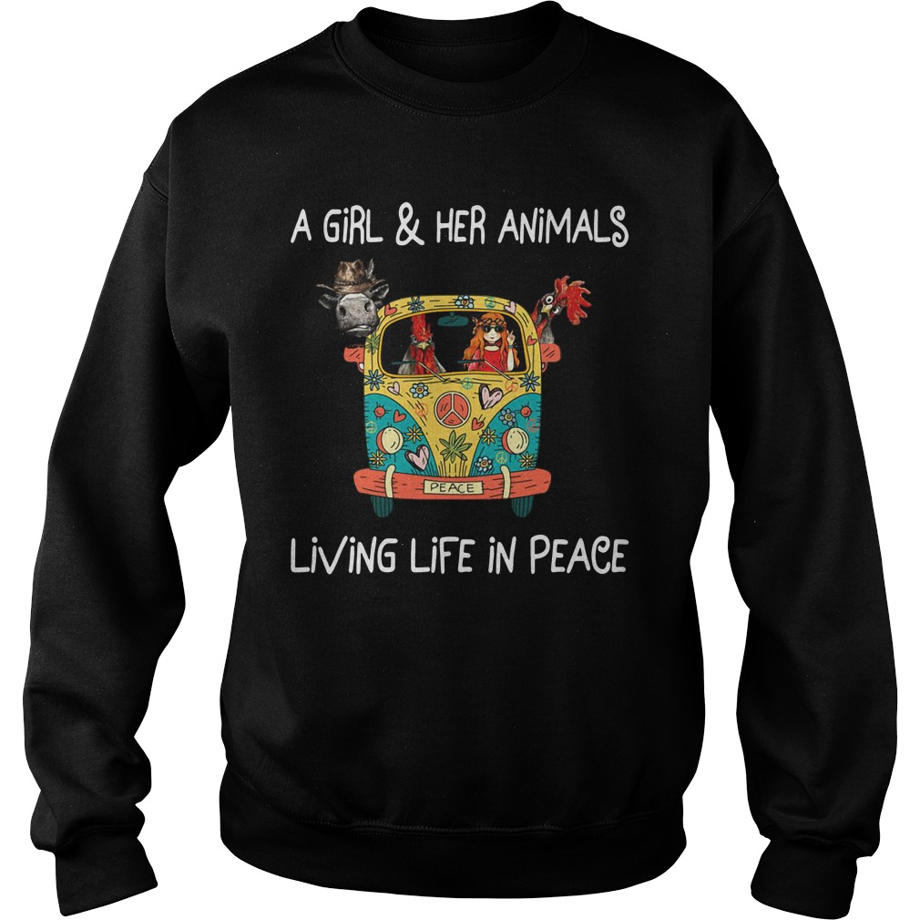 Girl In The Car With Chickens And Cow Girl And Her Animals Living In Peace Sweater