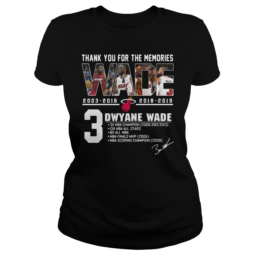 Miami Heat Dwyane Wade Thank You For The Memories Ladies Tee