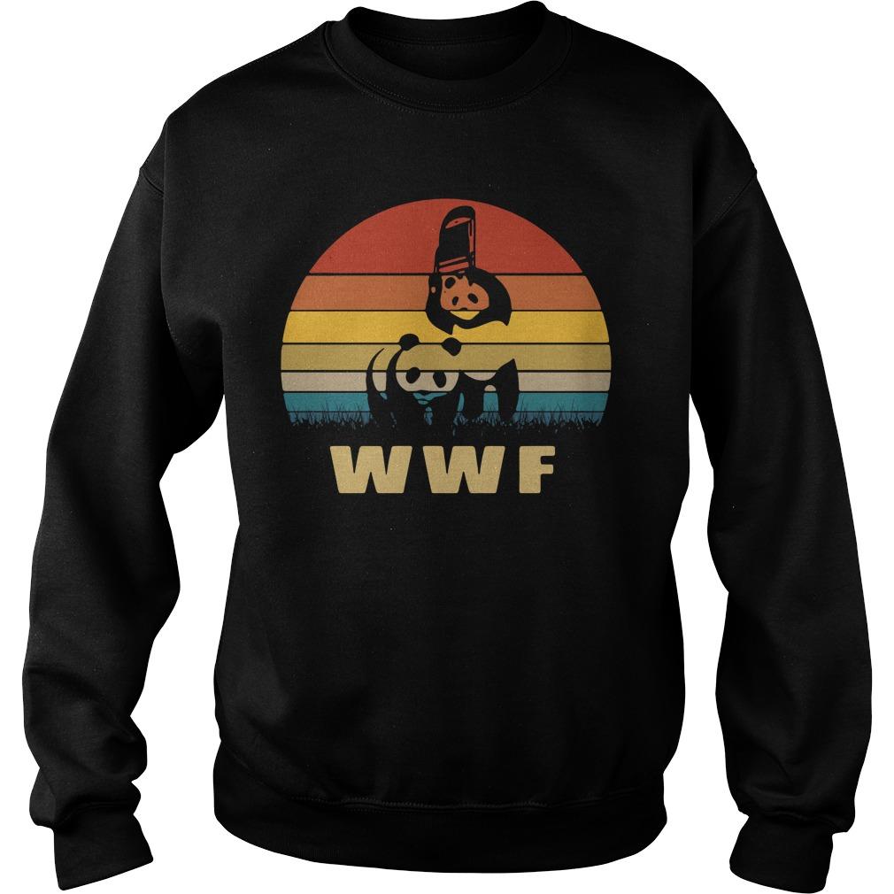 Panda Wrestling Wwf Sunset Retro Sweater