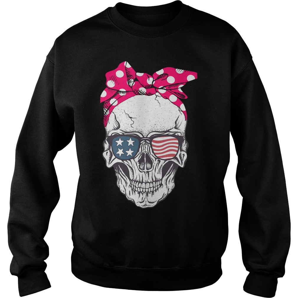 Skull Wearing A Red Bandana And American Flag Glass Sweater