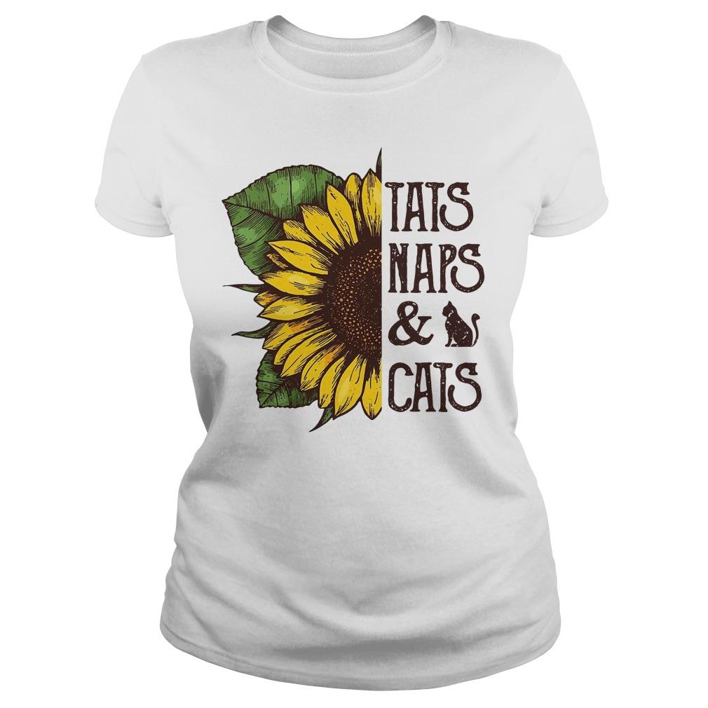Sunflower Tats Naps & Cats Ladies Tee
