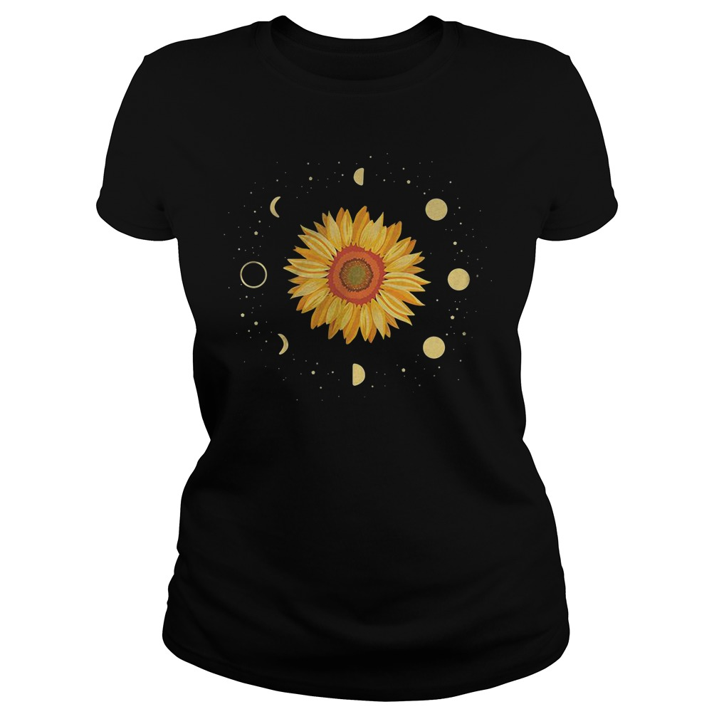 Sunflower Universe In The Galaxy With Planets Ladies Tee