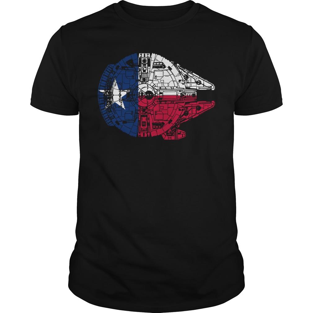 Texas Flag Millennium Falcon Guy Tees