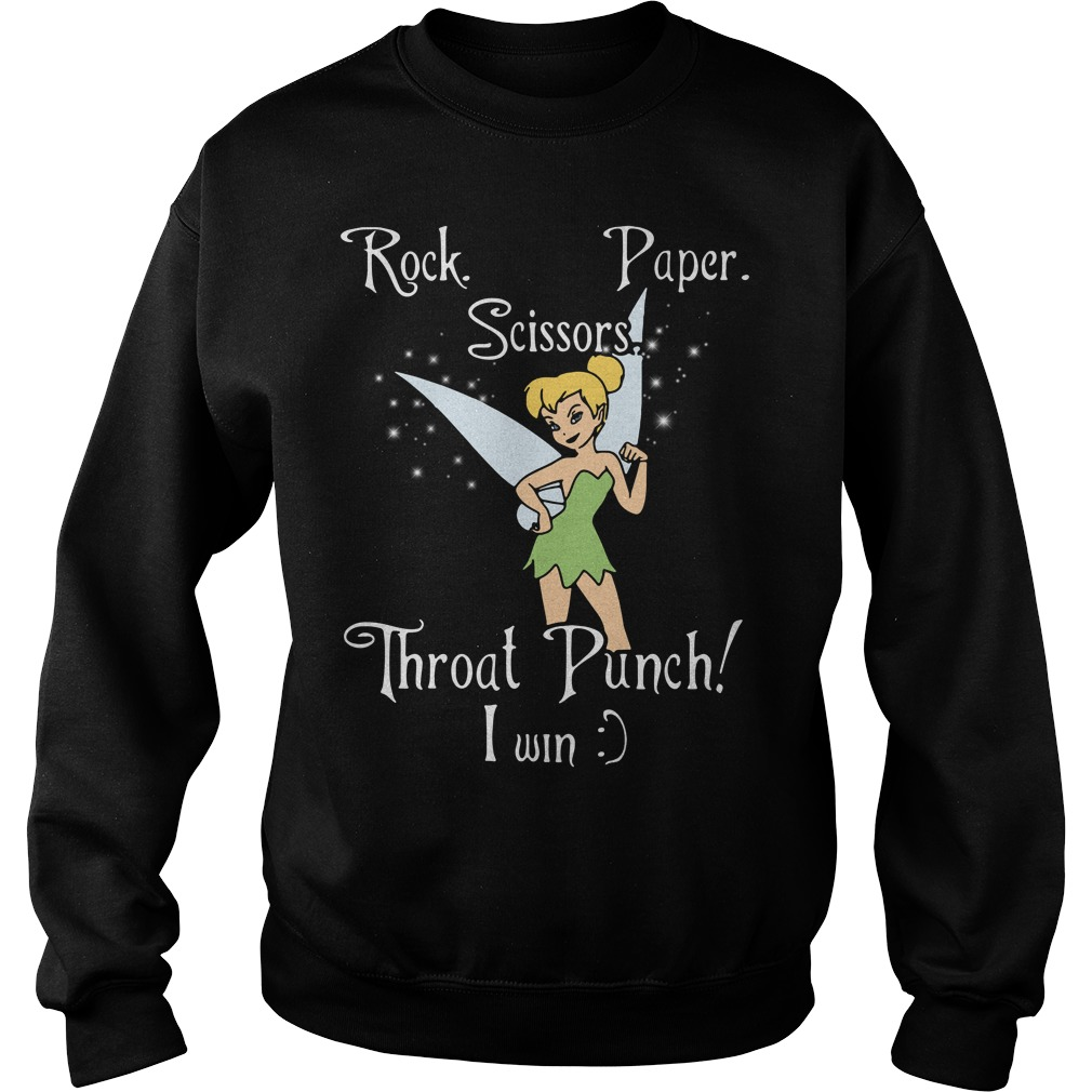 Tinkerbell Rock Paper Scissors Throat Punch I Win Sweater