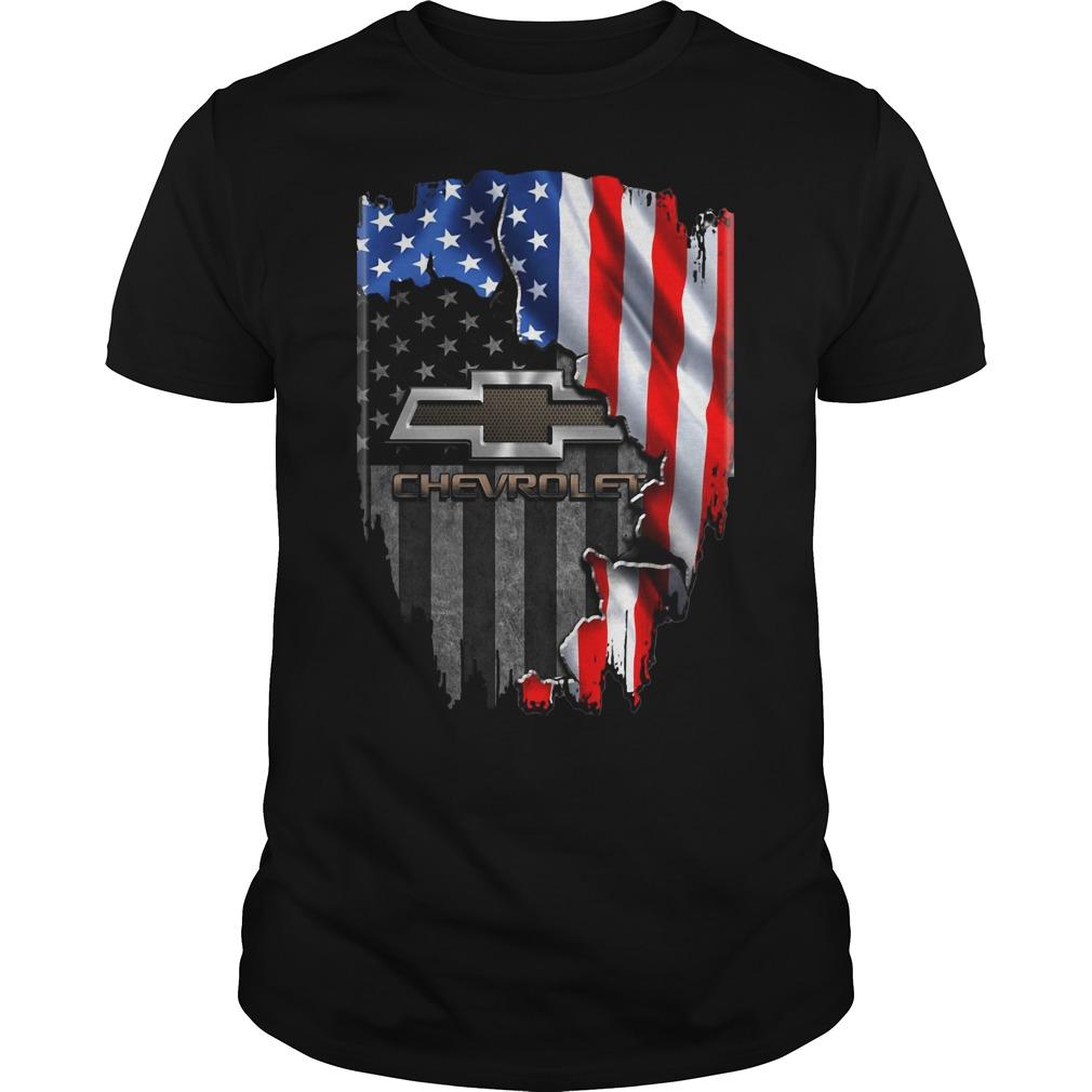 Chevrolet Logo Inside American Flag Guy Tees