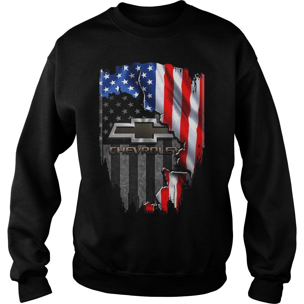 Chevrolet Logo Inside American Flag Sweater