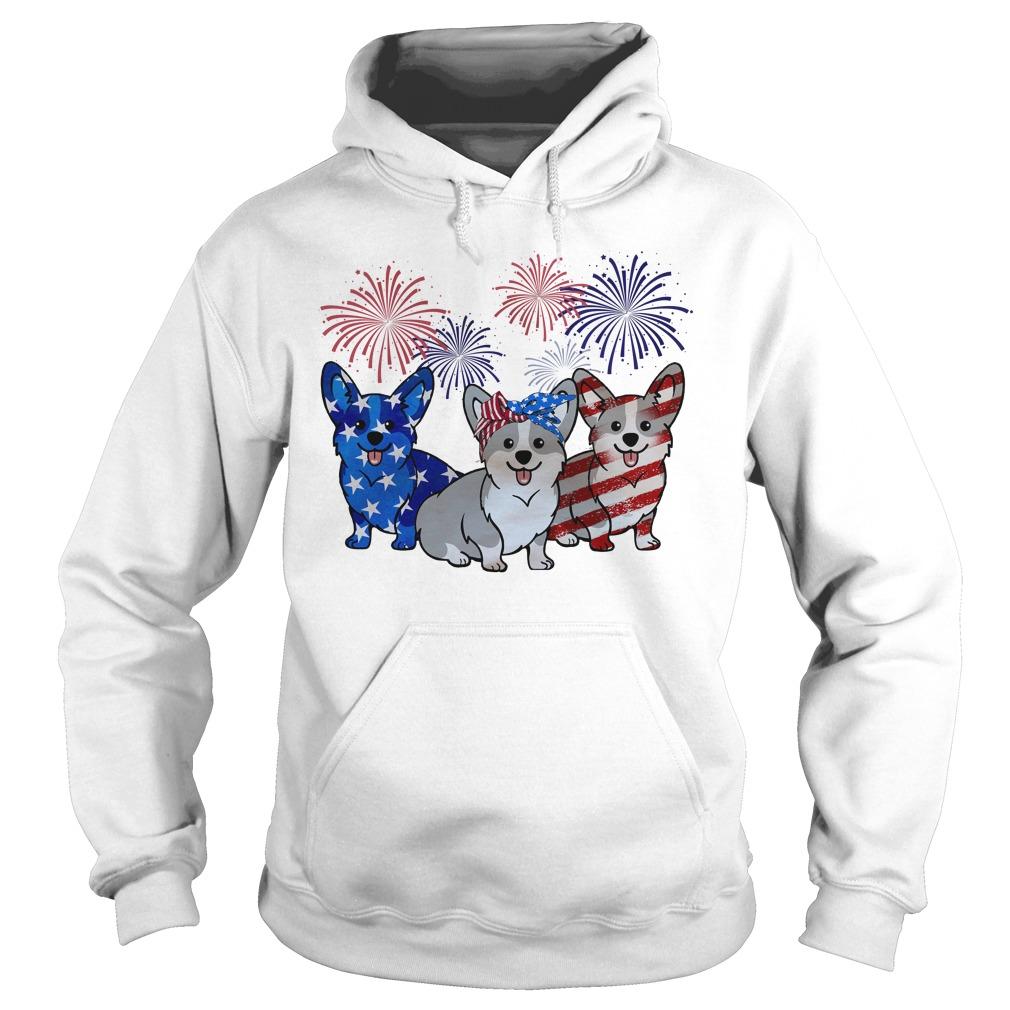 Firework Red White And Blue Corgi Dogs American Flag Hoodie