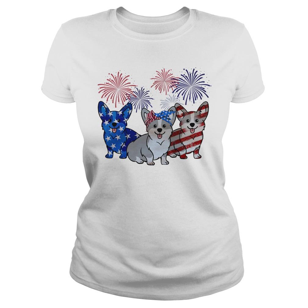 Firework Red White And Blue Corgi Dogs American Flag Ladies Tee