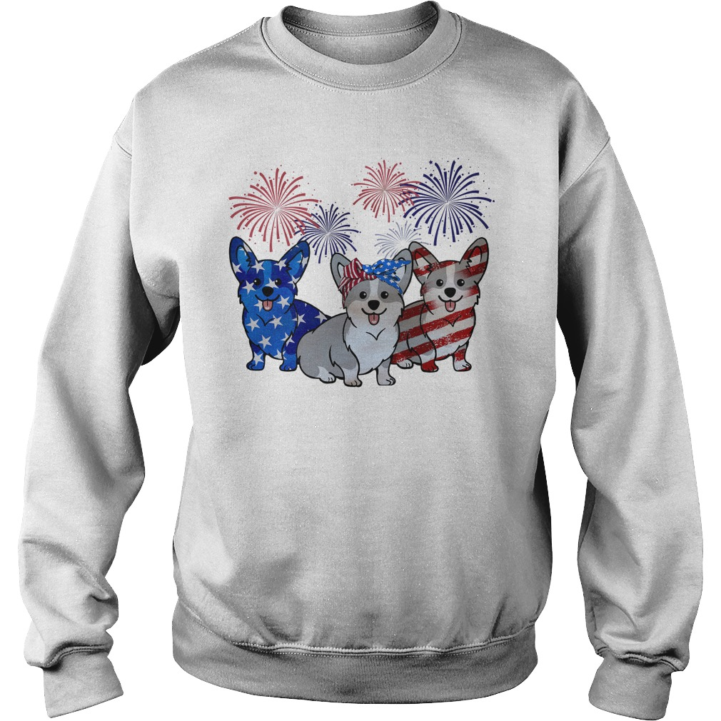 Firework Red White And Blue Corgi Dogs American Flag Sweater