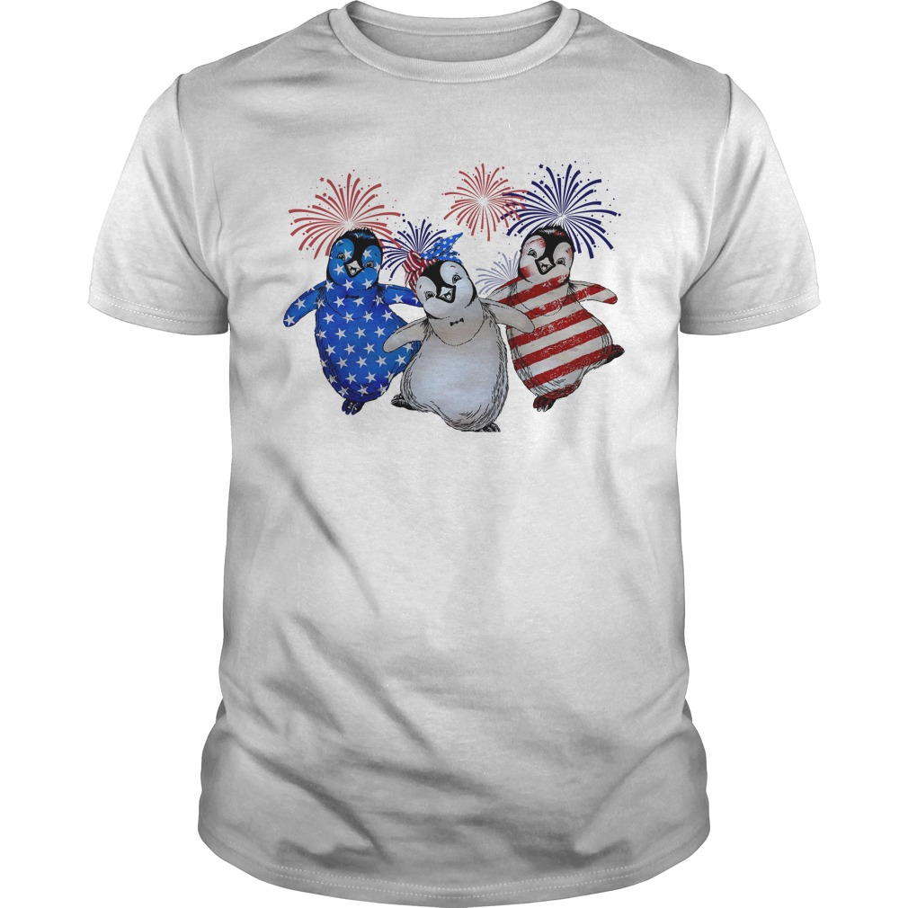 Firework Red White And Blue Penguins American Flag Guy Tees