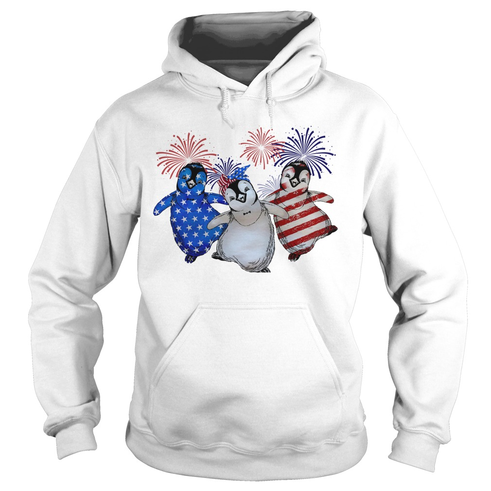 Firework Red White And Blue Penguins American Flag Hoodie