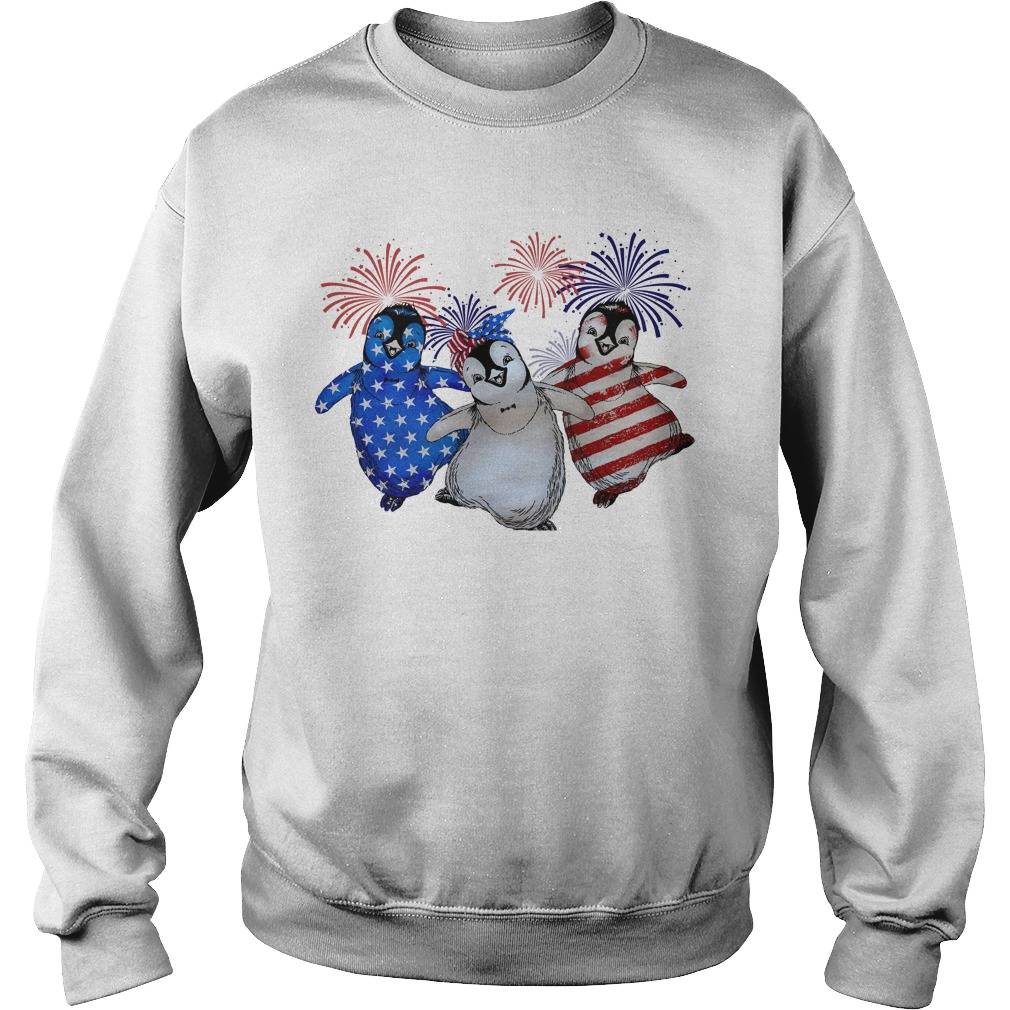 Firework Red White And Blue Penguins American Flag Sweater