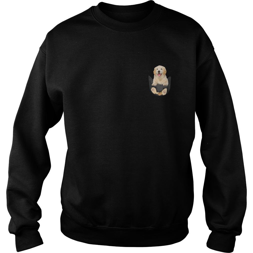 Golden Retriever In Pocket Sweater