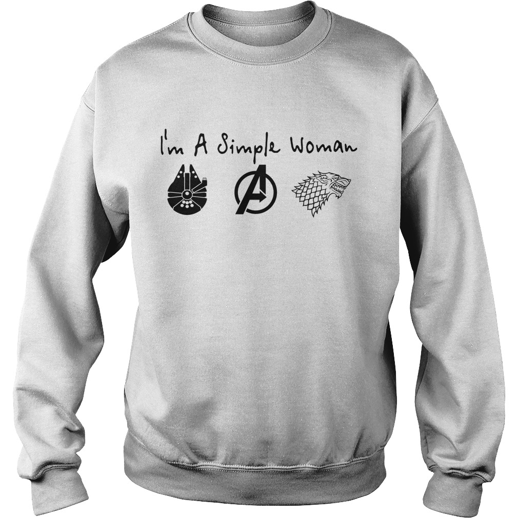 I'M A Simple Woman I Like Death Star Star Wars Avengers And House Stark Sweater