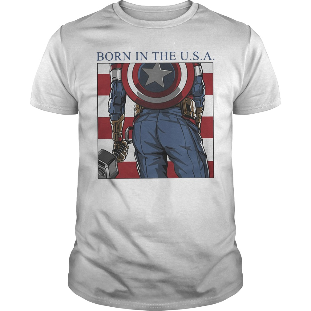 Marvel Avengers Captain American Born In The Usa Guy Tees