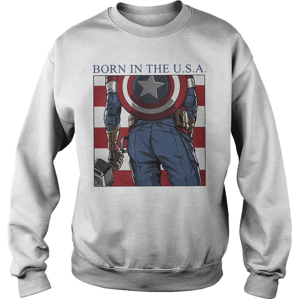 Marvel Avengers Captain American Born In The Usa Sweater