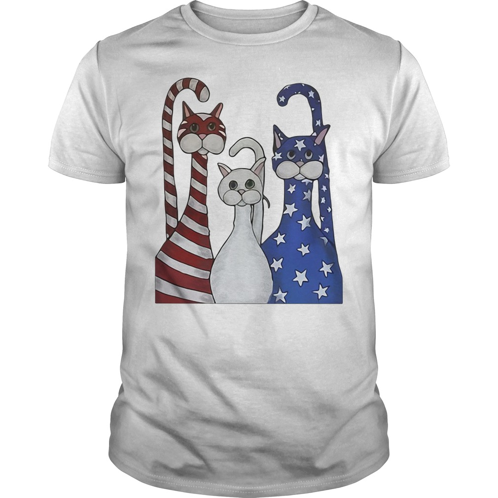 Red White And Blue Cats American Flag Guy Tees