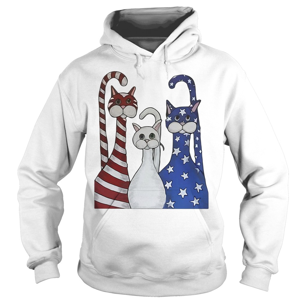 Red White And Blue Cats American Flag Hoodie
