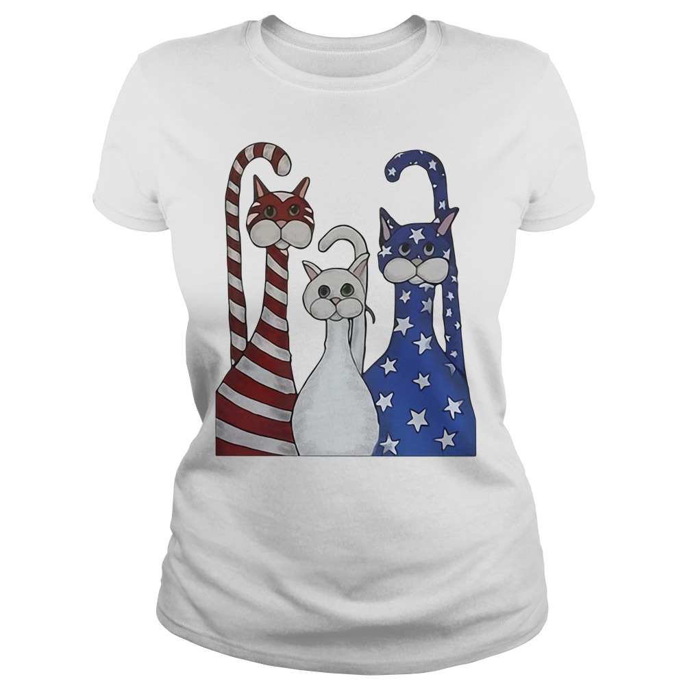 Red White And Blue Cats American Flag Ladies Tee