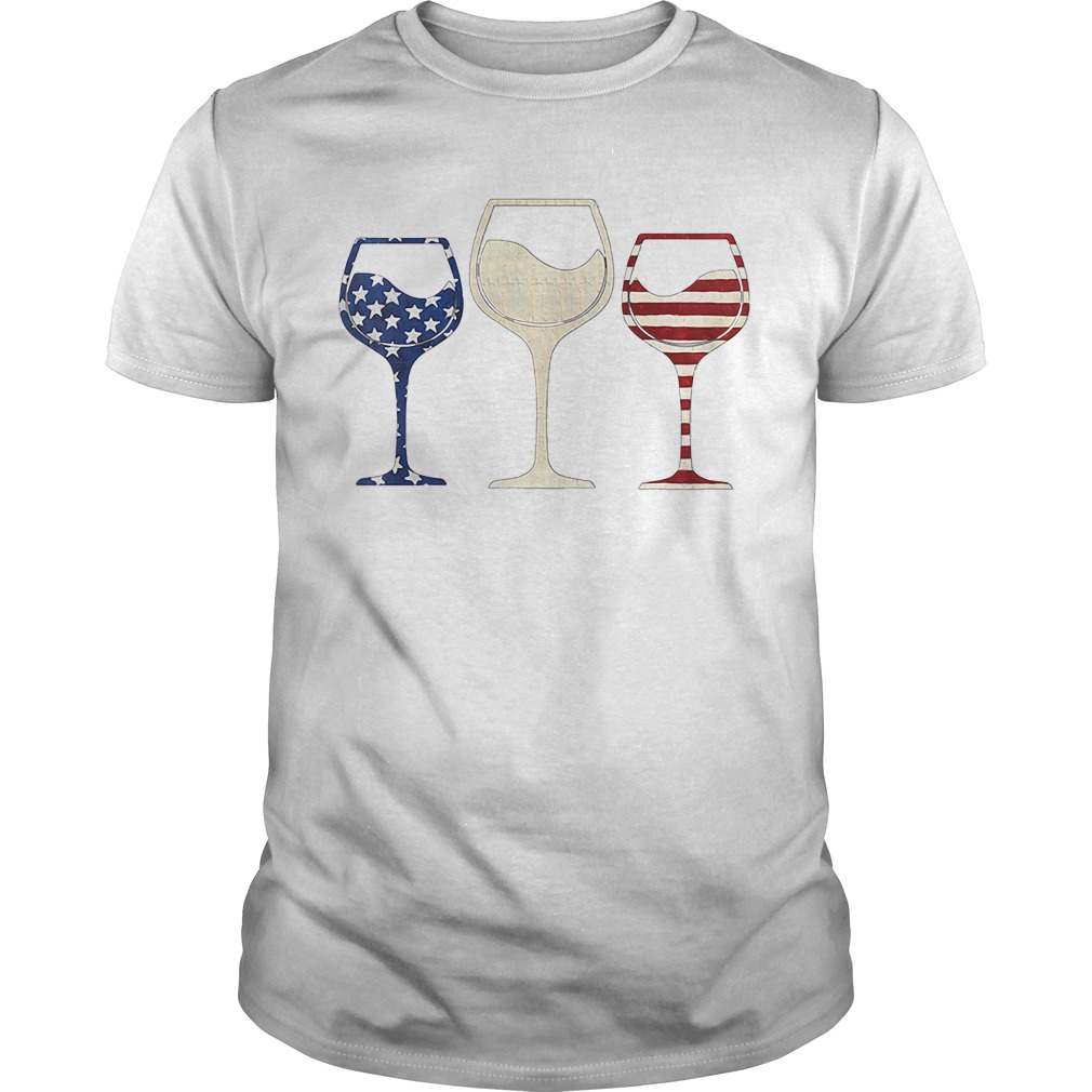 Red White And Blue Glasses Of Wine American Flag Guy Tees