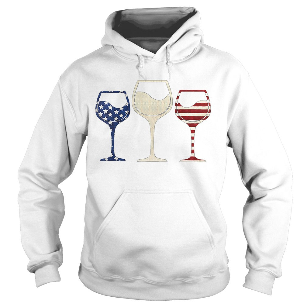 Red White And Blue Glasses Of Wine American Flag Hoodie