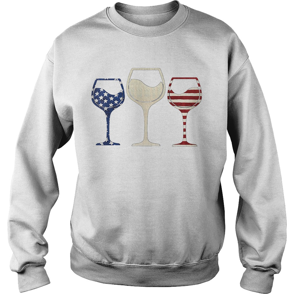 Red White And Blue Glasses Of Wine American Flag Sweater