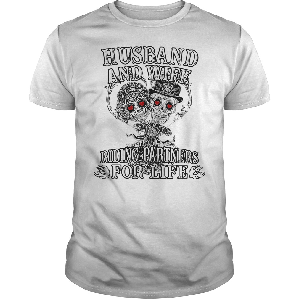 Skeletons Husband And Wife Riding Partners For Life Guy Tees