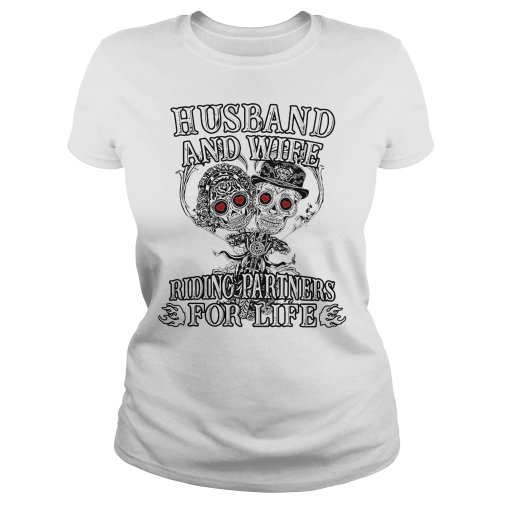Skeletons Husband And Wife Riding Partners For Life Ladies Tee
