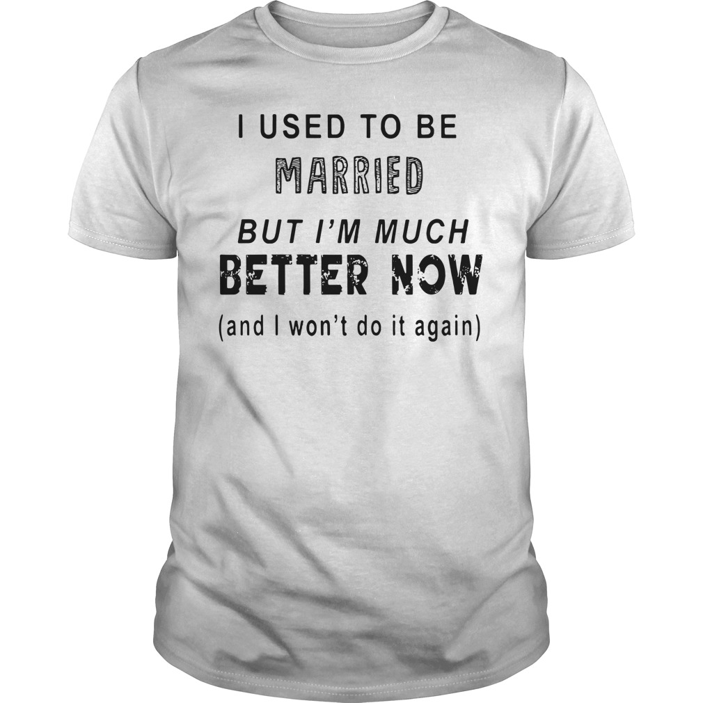 I Used To Be Married But I'M Much Better Now I Won'T Do It Again Guy Tees