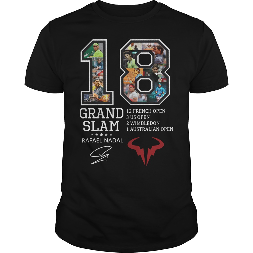 18 Grand Slam Rafael Nadal 12 French Open 3 Us Open 2 Wimbledon 1 Australian Open Guy Tees