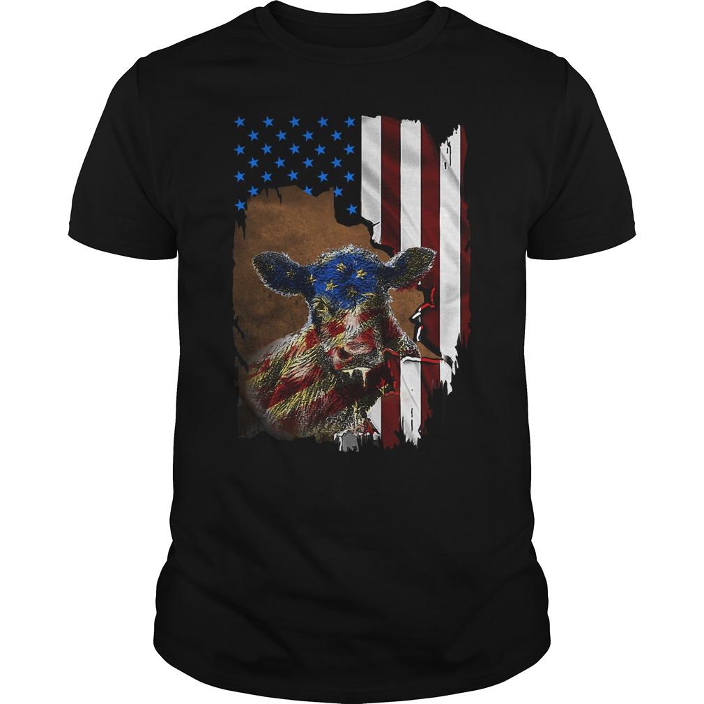 4Th July Cow Inside American Flag Guy Tees