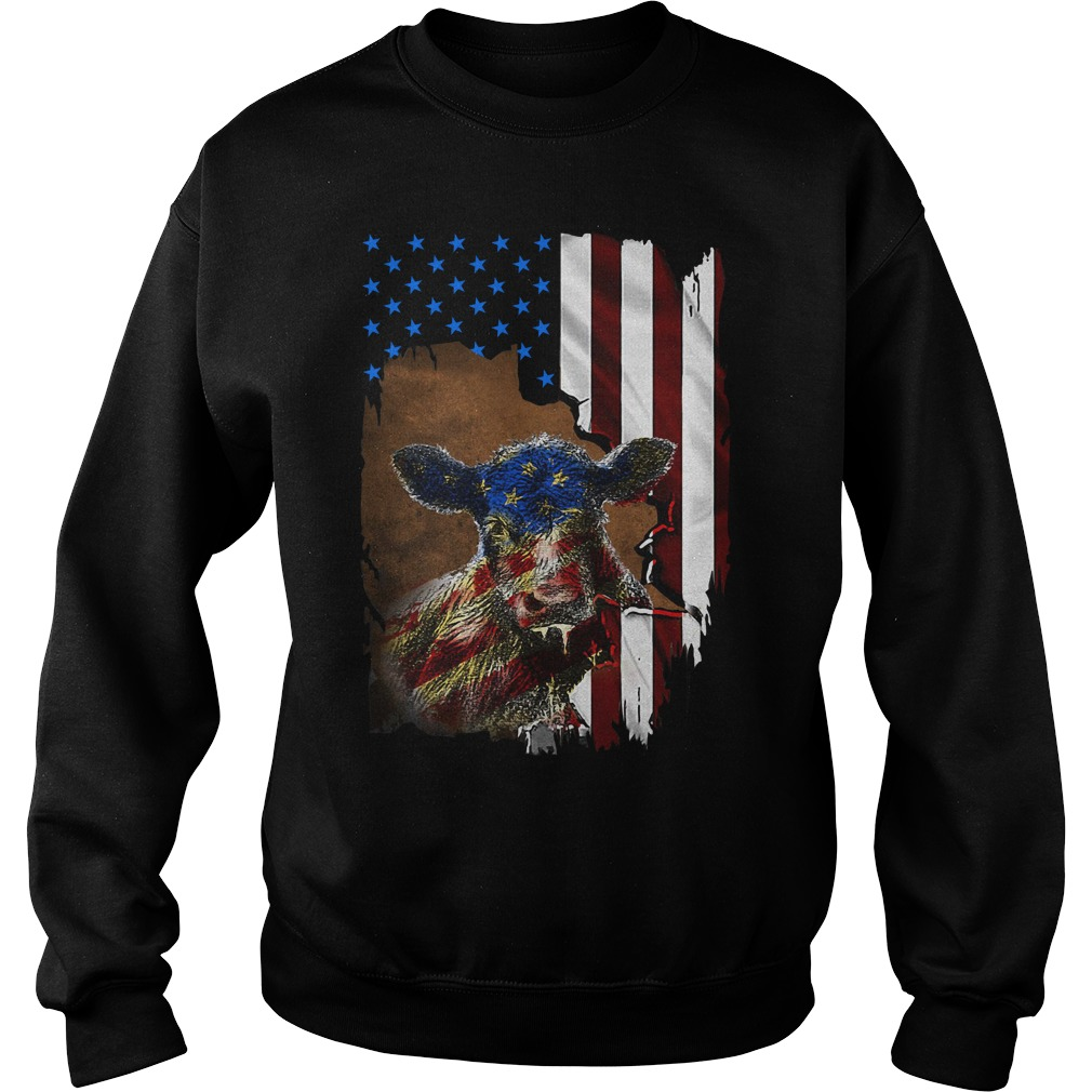 4Th July Cow Inside American Flag Sweater