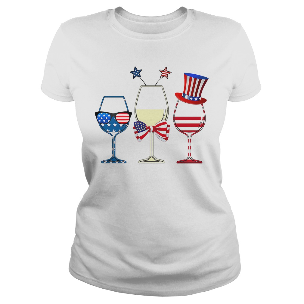 4Th July Wine Glasses American Flag Ladies Tee