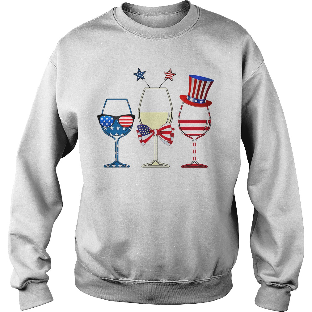 4Th July Wine Glasses American Flag Sweater