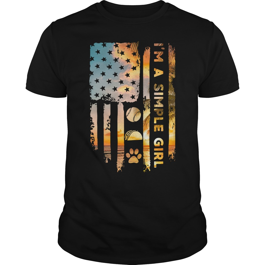 American Flag I'M A Simple Girl Volleyball Taco And Paw Guy Tees