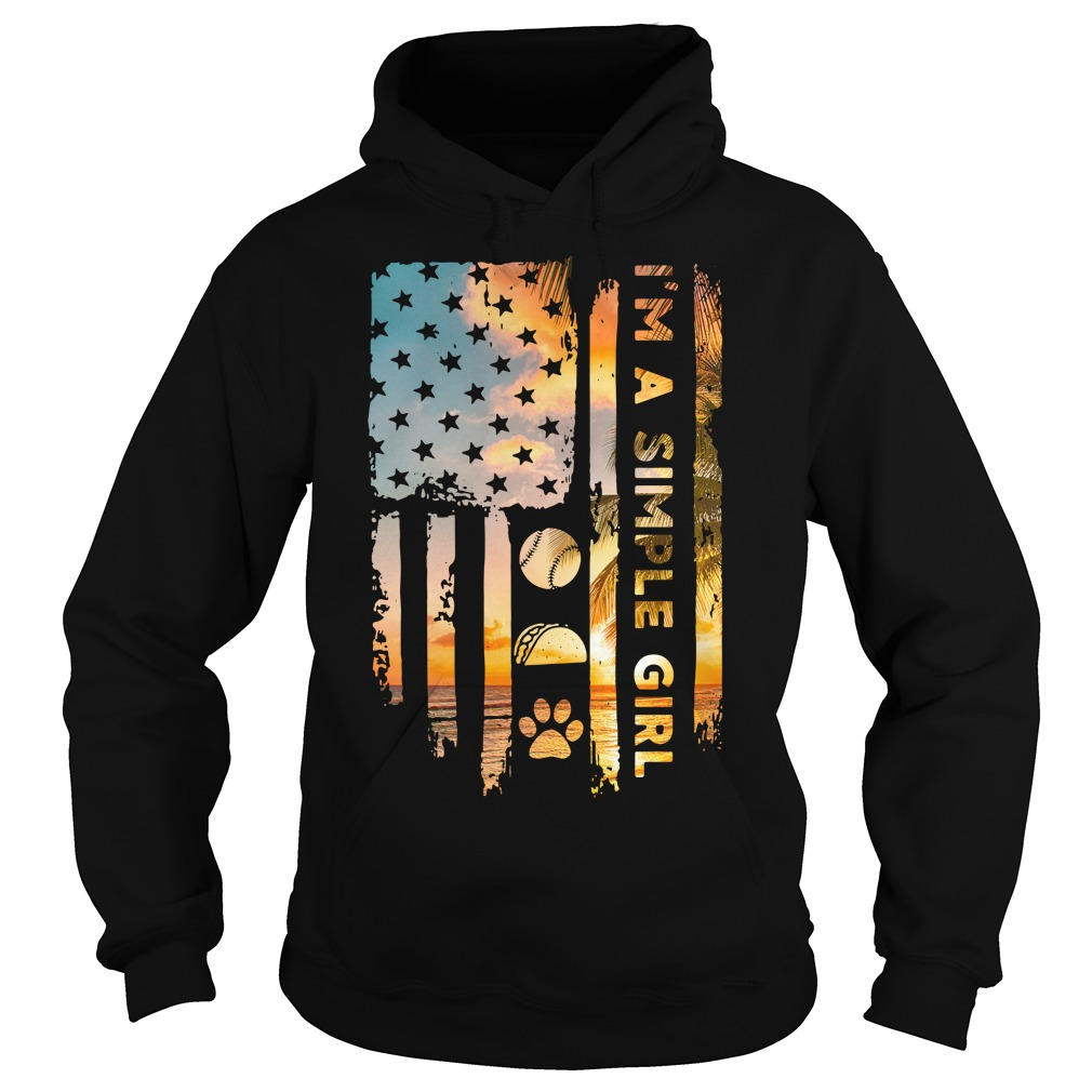 American Flag I'M A Simple Girl Volleyball Taco And Paw Hoodie