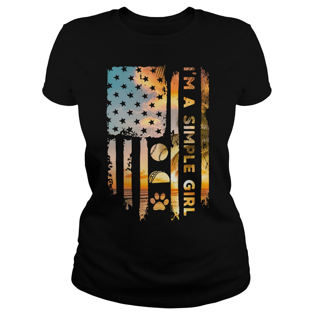 American Flag I'M A Simple Girl Volleyball Taco And Paw Ladies Tee