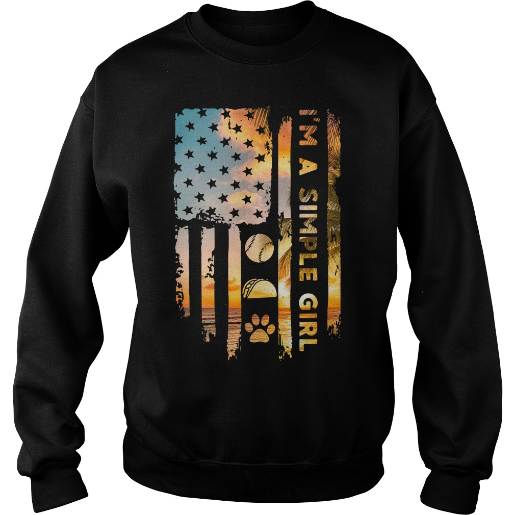 American Flag I'M A Simple Girl Volleyball Taco And Paw Sweater