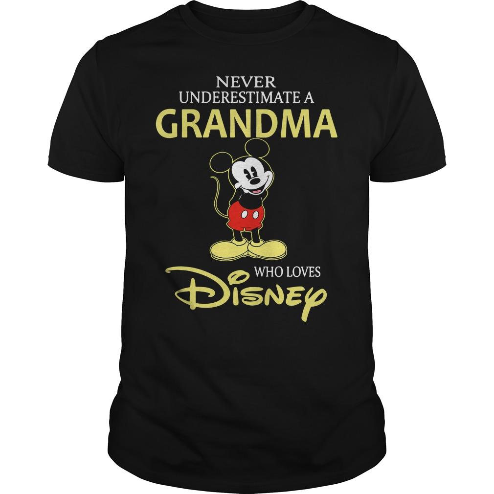 Mickey Never Underestimate A Grandma Who Loves Disney Guy Tees