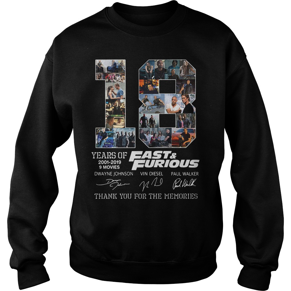 18 Years Of Fast And Furious 2001-2019 9 Movies Thank You For The Memories Sweater