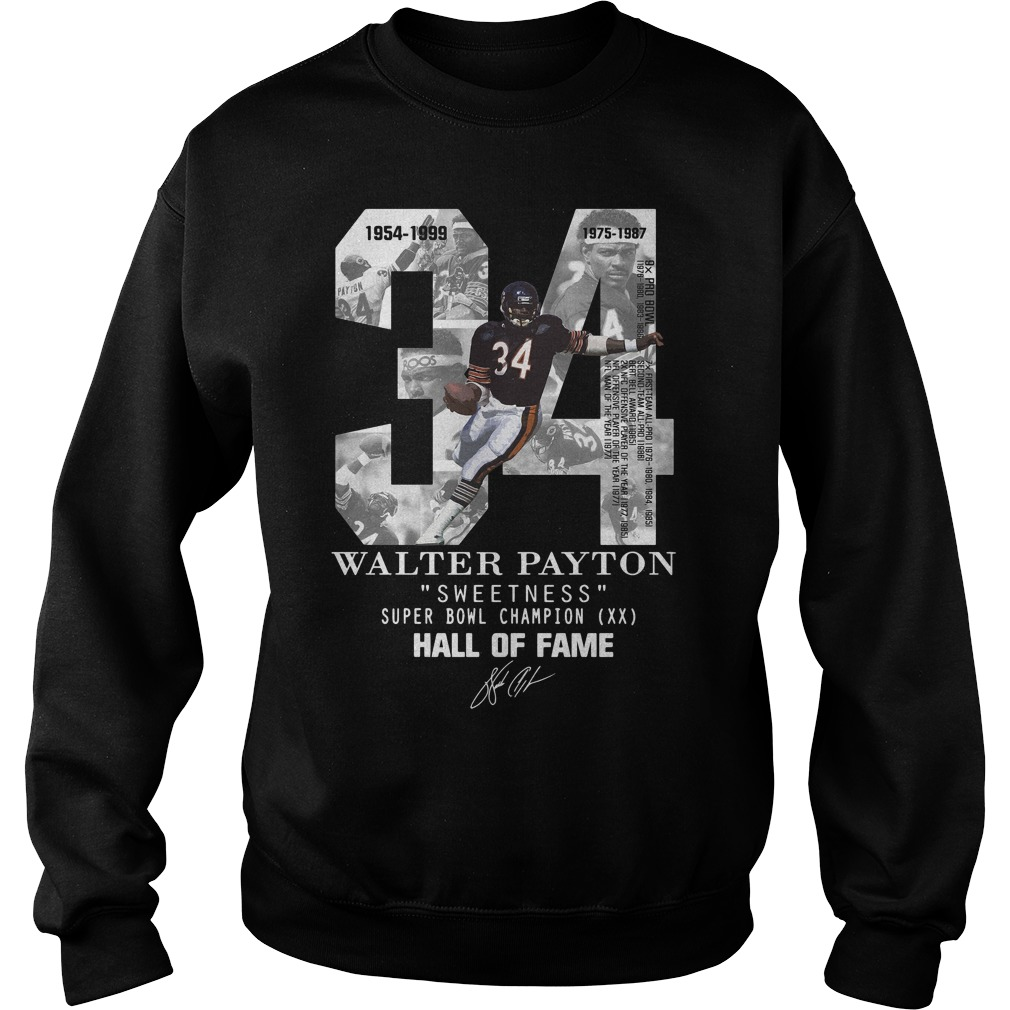 34 Walter Payton Sweetness Super Bowl Champion Hall Of Fame Signature Sweater
