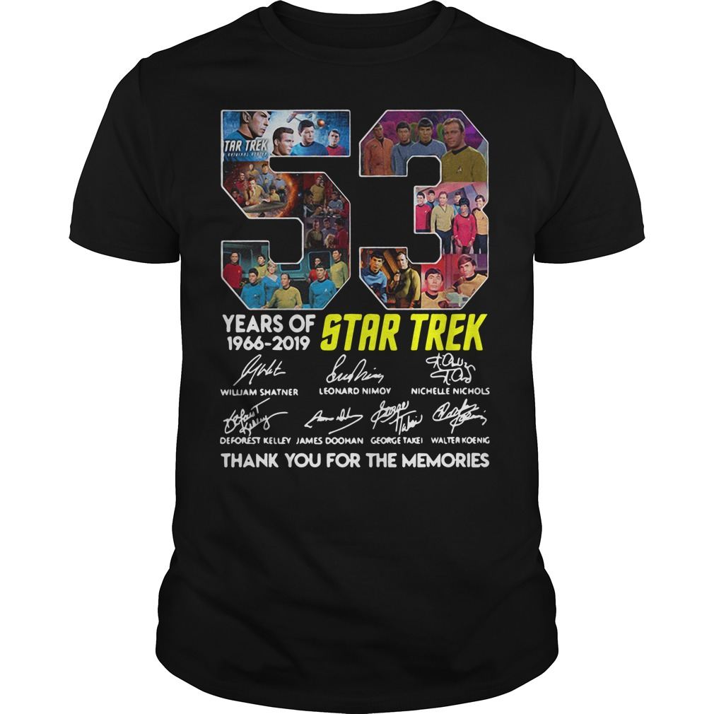 53 Years Of Star Trek 1966-2019 Thank You For The Memories Signature Guy Tees