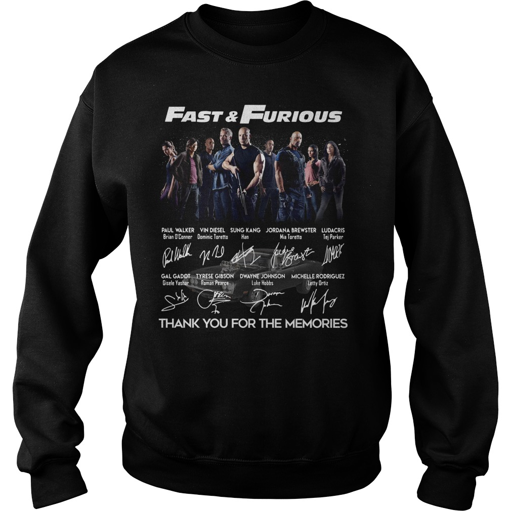 Fast And Furious Poster Signature Thank You For The Memories Sweater