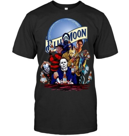 Halloween Horror Characters drinking Blue Moon shirt
