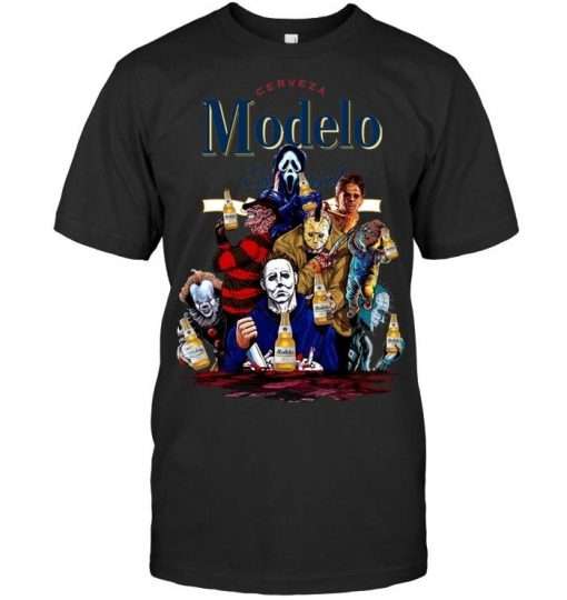 Halloween Horror Characters drinking Cerveza Modelo shirt
